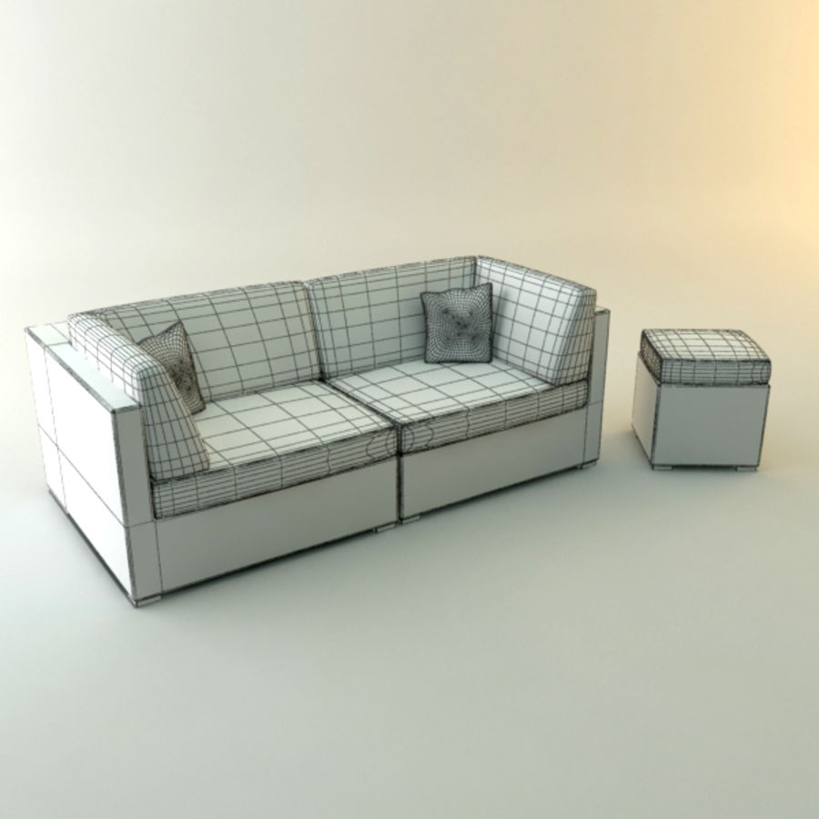 GARDEN COUCH LOUNGER royalty-free 3d model - Preview no. 2