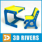 Kids table with chairs 07 by 3DRivers 3d model