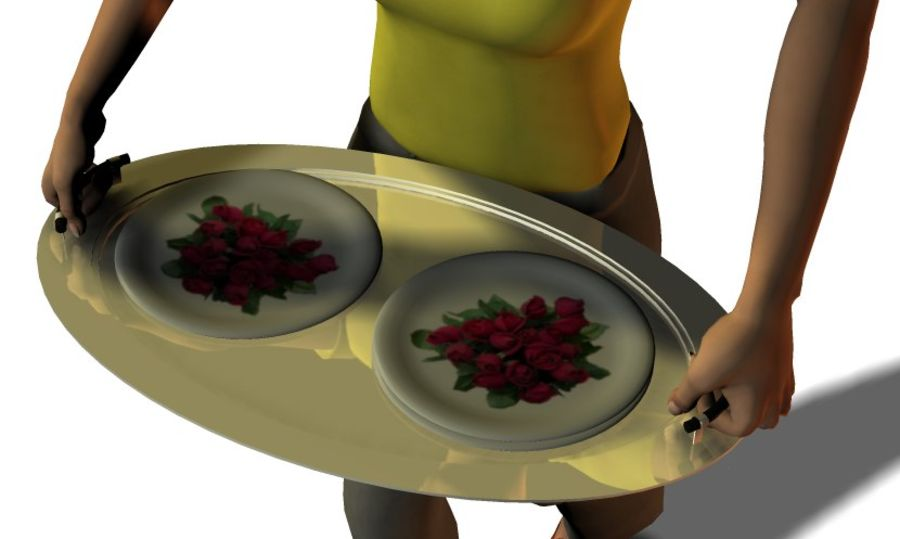 Silver Serving tray royalty-free 3d model - Preview no. 1