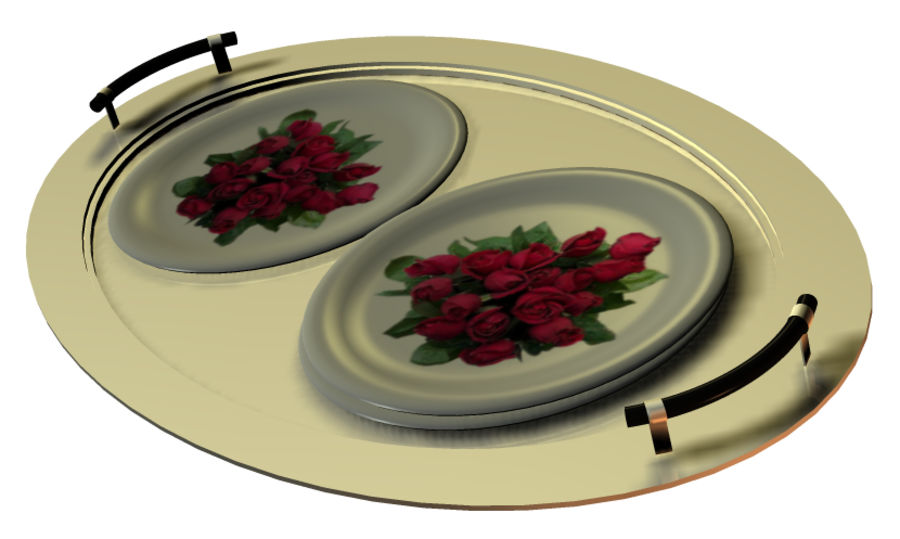Silver Serving tray royalty-free 3d model - Preview no. 4