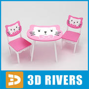 Kids table with chairs 02 by 3DRivers 3d model
