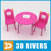 Kids table with chairs 03 by 3DRivers 3d model