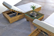 Outdoor Reclining Lounge Chair and Table Set 3d model
