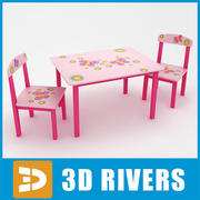 Kids table with chairs 01 by 3DRivers 3d model