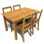 dining table and chairs 01 3d model