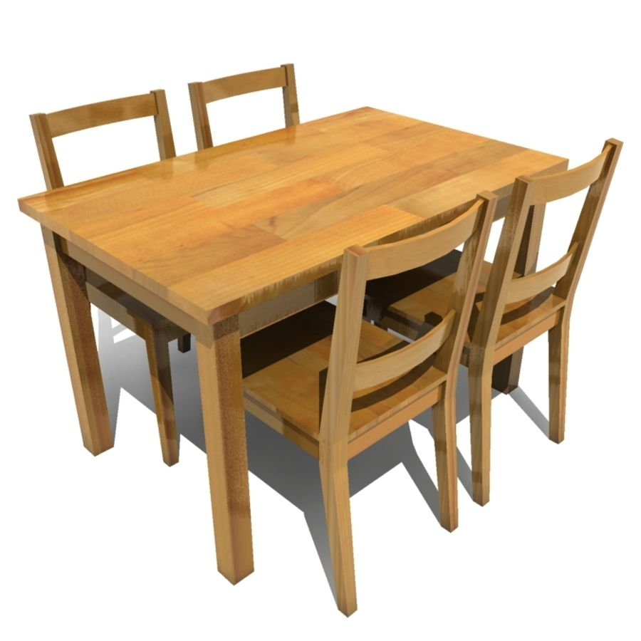 tavolo da pranzo e sedie 01 royalty-free 3d model - Preview no. 1