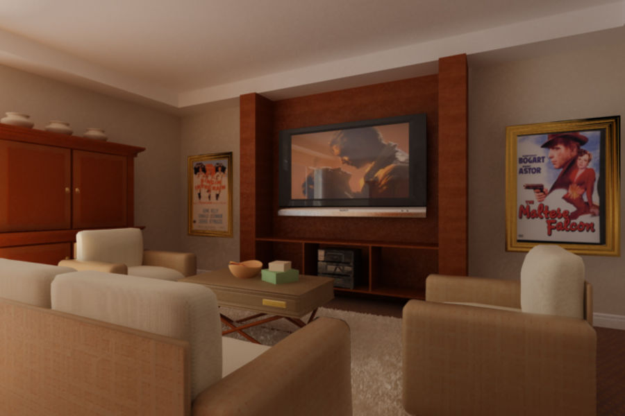 realistic media living room royalty-free 3d model - Preview no. 6