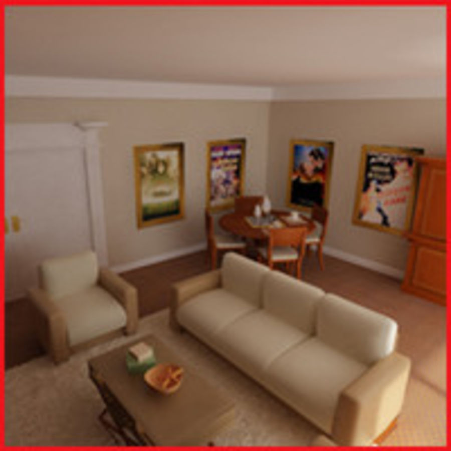 realistic media living room royalty-free 3d model - Preview no. 3