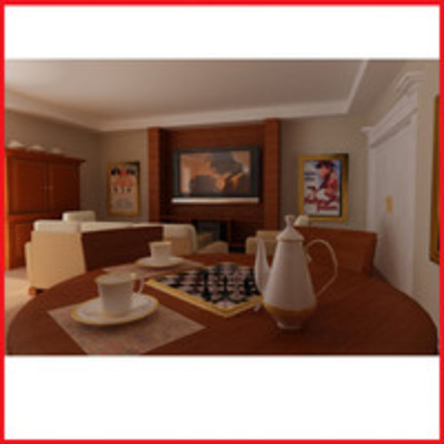 realistic media living room royalty-free 3d model - Preview no. 2