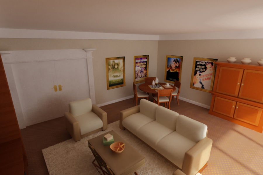 realistic media living room royalty-free 3d model - Preview no. 5