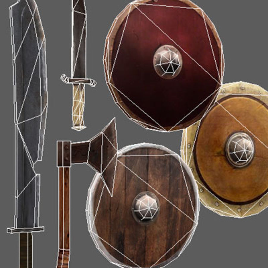 Arena Weapons and Shields royalty-free 3d model - Preview no. 5