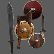 Arena Weapons and Shields 3d model