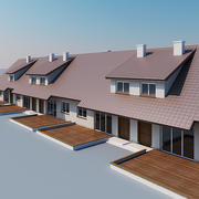 Terraced houses 3d model