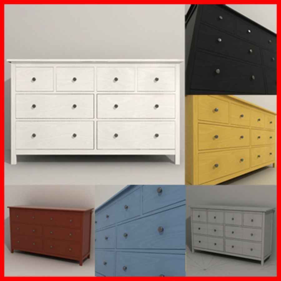 Ikea Hemnes komode 02 royalty-free 3d model - Preview no. 1
