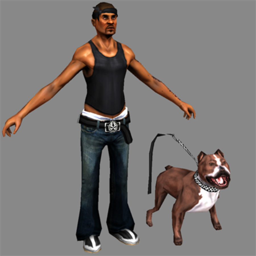 Low-Poly Gangster (with dog) royalty-free 3d model - Preview no. 2