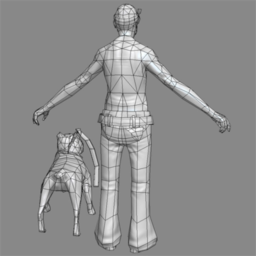 Low-Poly Gangster (with dog) royalty-free 3d model - Preview no. 5