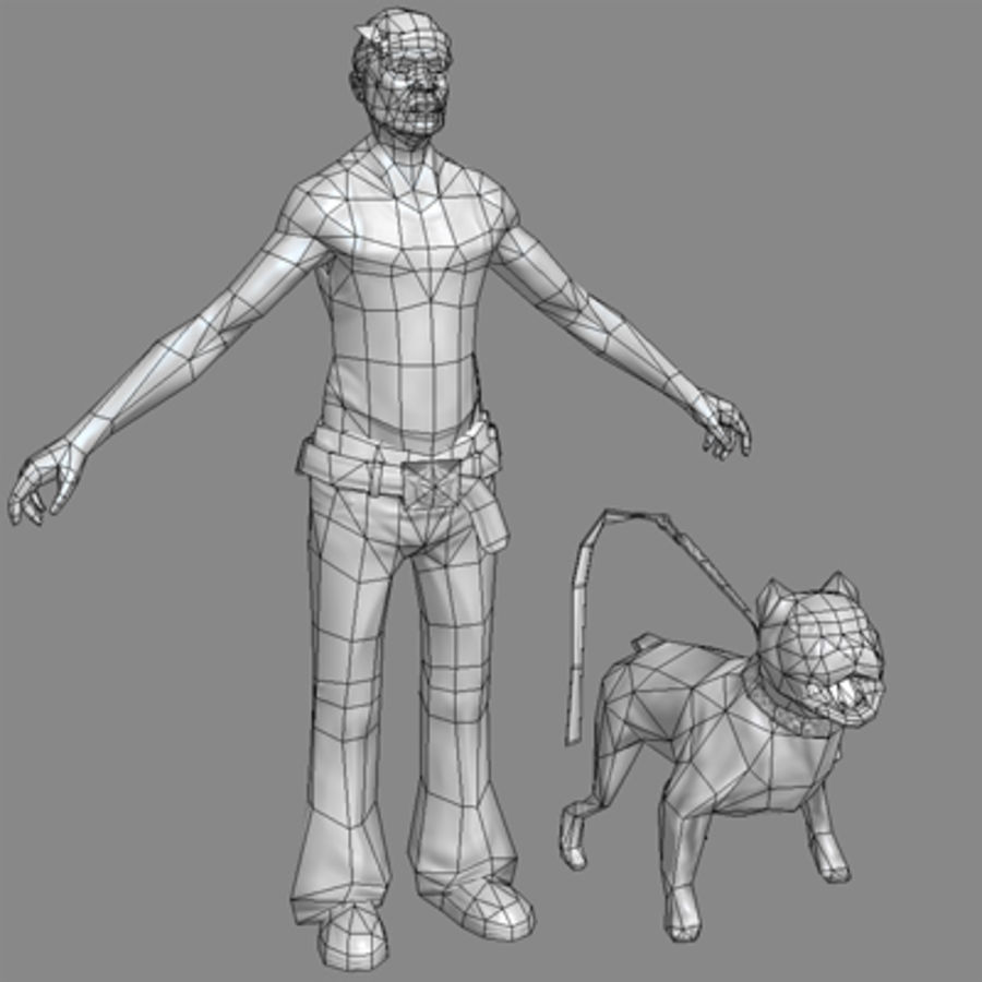 Low-Poly Gangster (with dog) royalty-free 3d model - Preview no. 4
