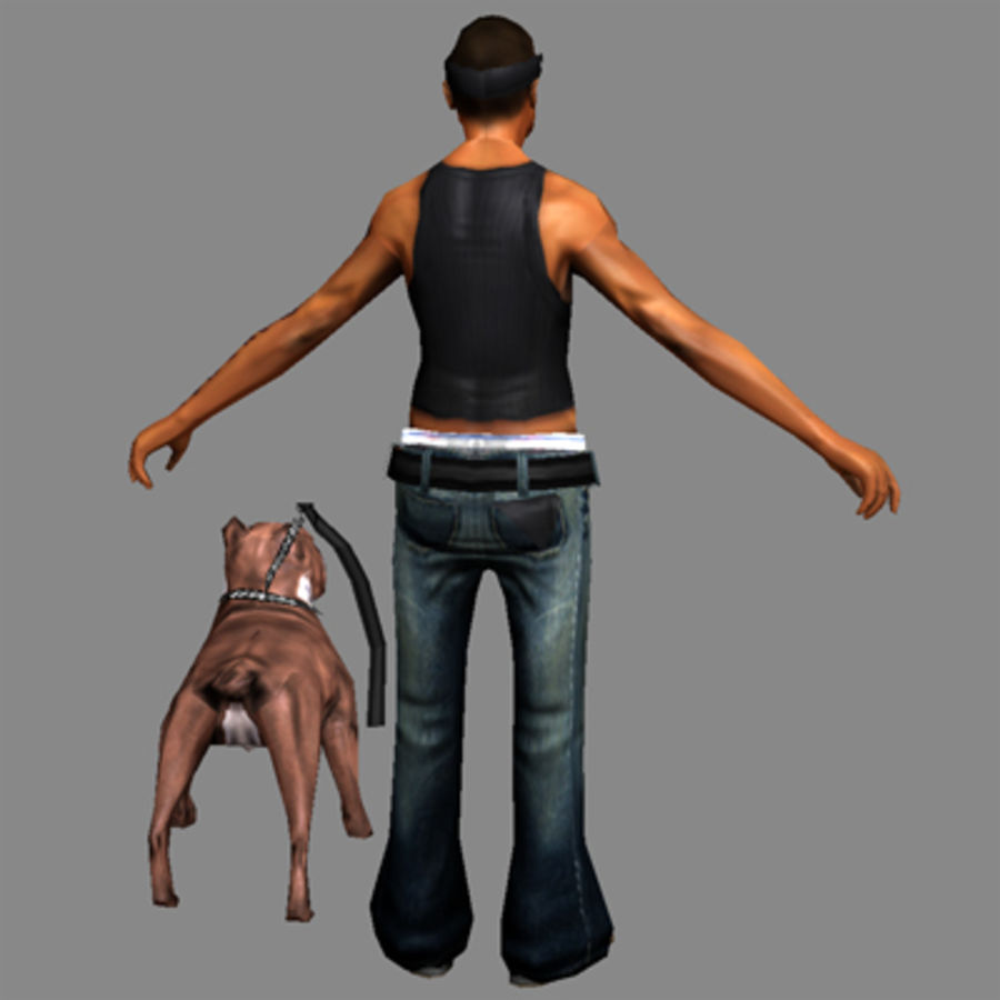 Low-Poly Gangster (with dog) royalty-free 3d model - Preview no. 3