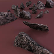 shattered rocks sharp edged 3d model