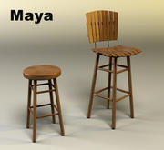 Bar Chair and Stool 3d model