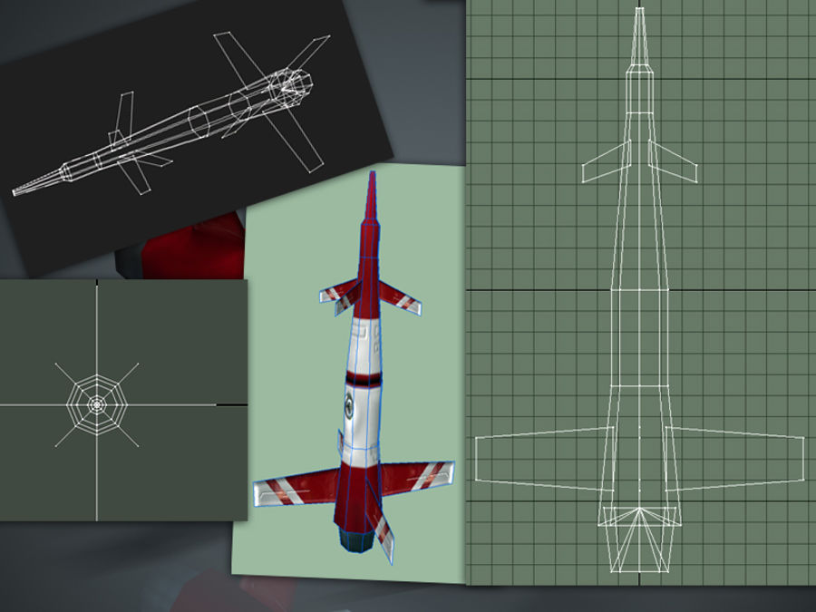 导弹01低多边形游戏模型 royalty-free 3d model - Preview no. 2