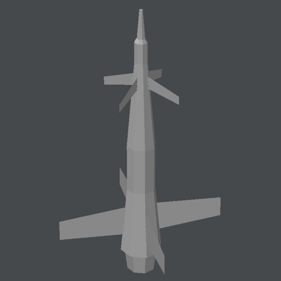 导弹01低多边形游戏模型 royalty-free 3d model - Preview no. 5
