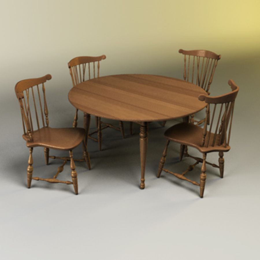 Kitchen Table Set royalty-free 3d model - Preview no. 2