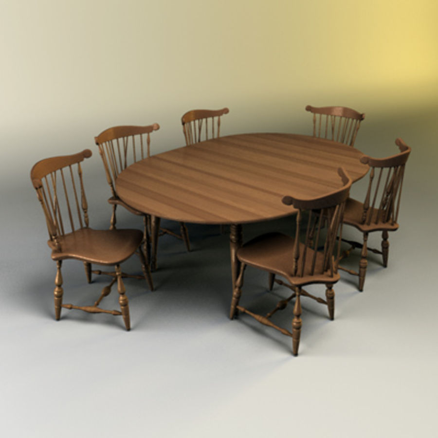 Kitchen Table Set royalty-free 3d model - Preview no. 1