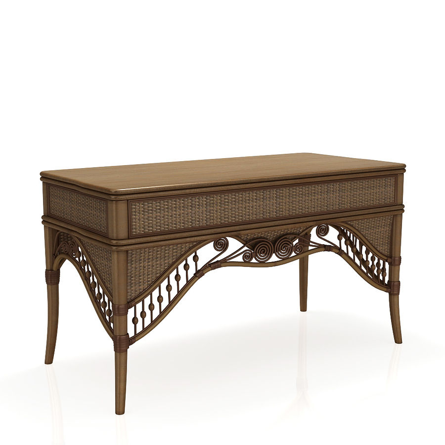 Rattan table (desk) and chair royalty-free 3d model - Preview no. 5