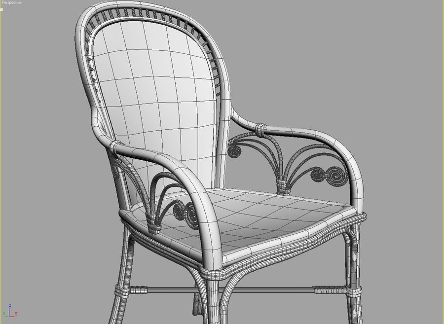 Rattan table (desk) and chair royalty-free 3d model - Preview no. 3