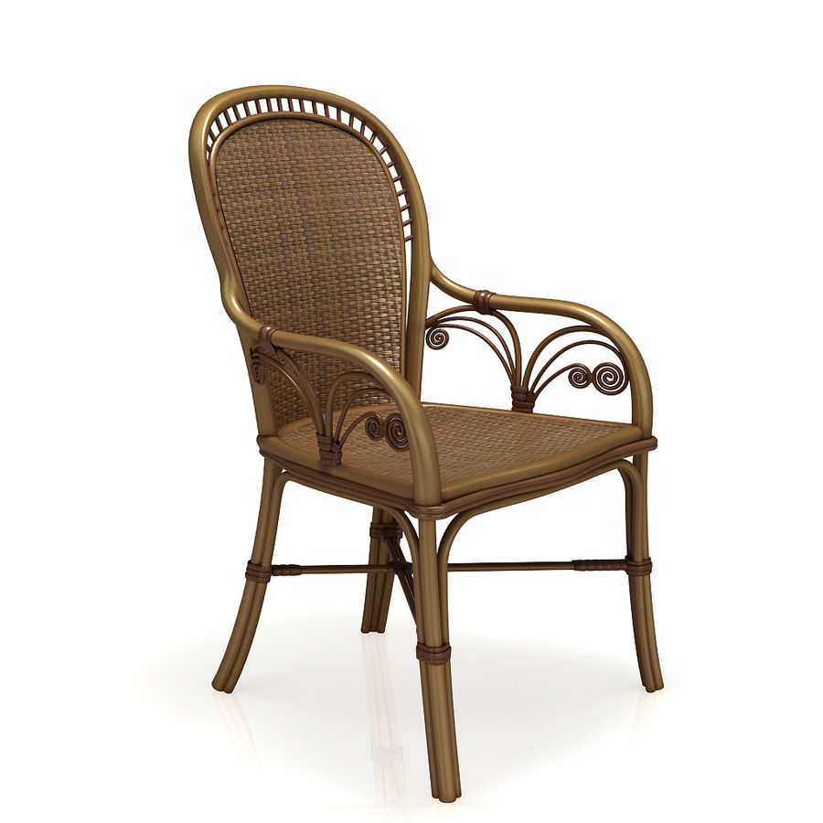 Rattan table (desk) and chair royalty-free 3d model - Preview no. 2