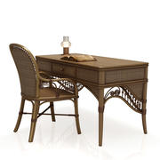 Rattan table (desk) and chair 3d model