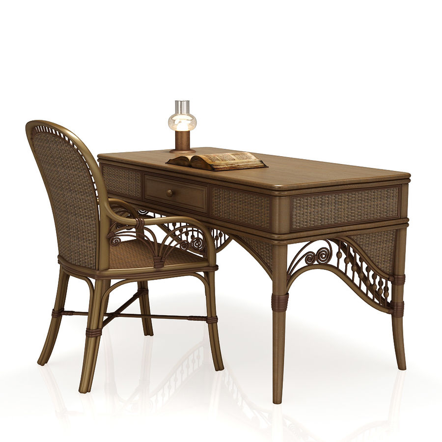 Rattan table (desk) and chair royalty-free 3d model - Preview no. 1