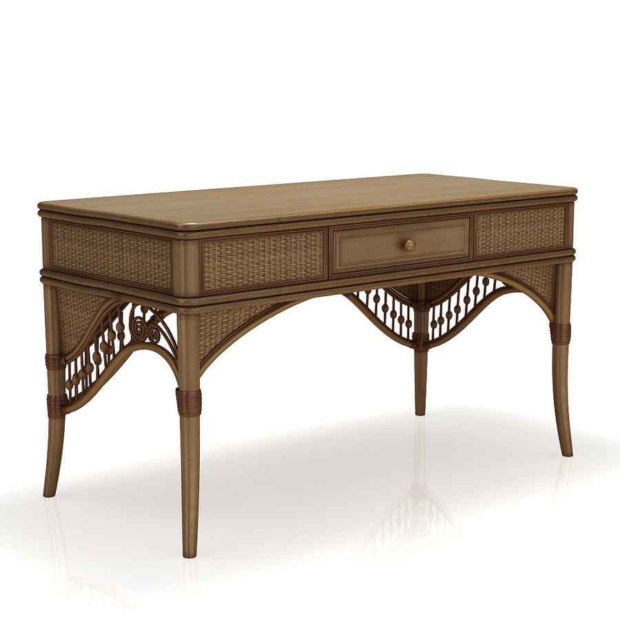 Rattan table (desk) and chair royalty-free 3d model - Preview no. 4