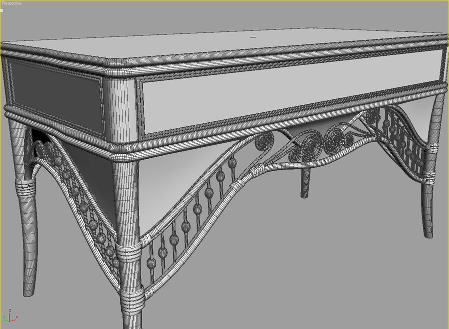 Rattan table (desk) and chair royalty-free 3d model - Preview no. 6