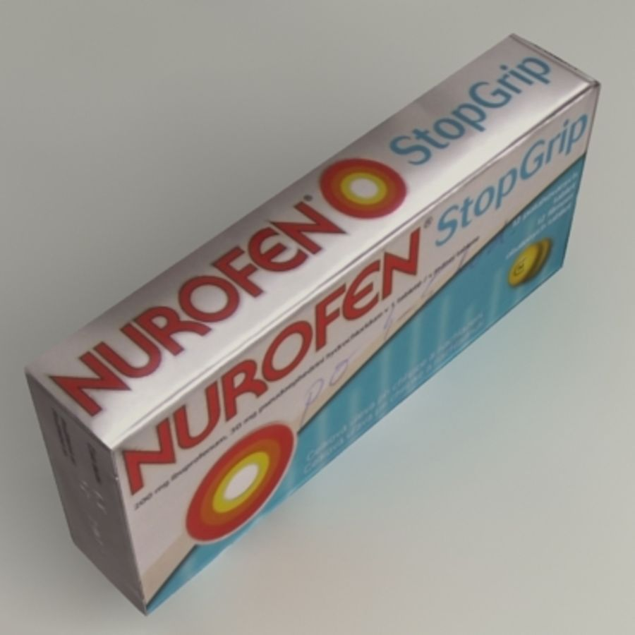 Nurofen Box royalty-free 3d model - Preview no. 3