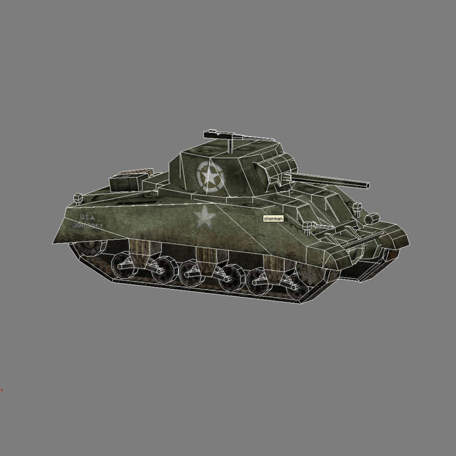 SHERMAN TANK royalty-free 3d model - Preview no. 3