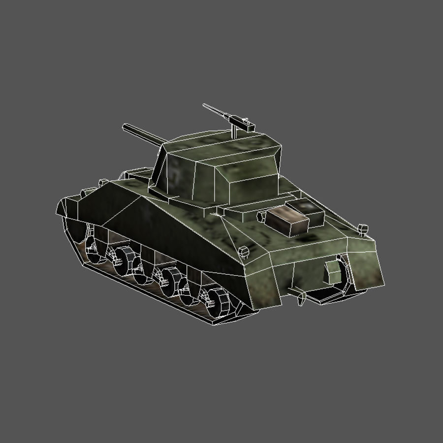 SHERMAN TANK royalty-free 3d model - Preview no. 4