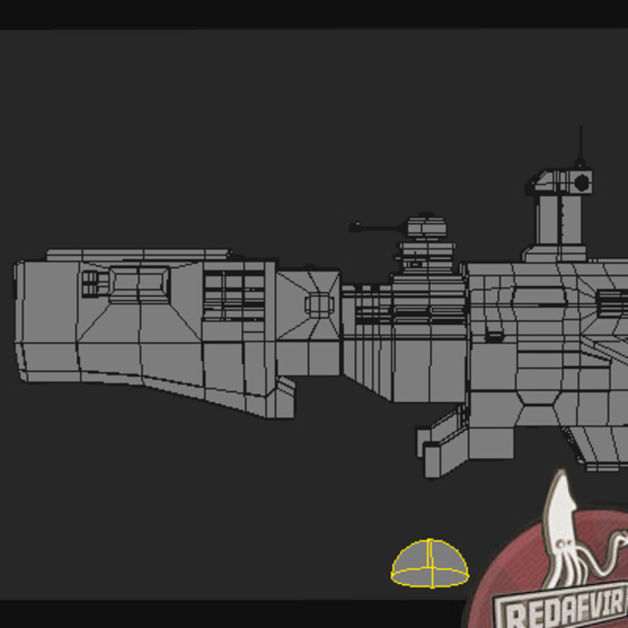 Scifi Spacecraft Destroyer royalty-free 3d model - Preview no. 10