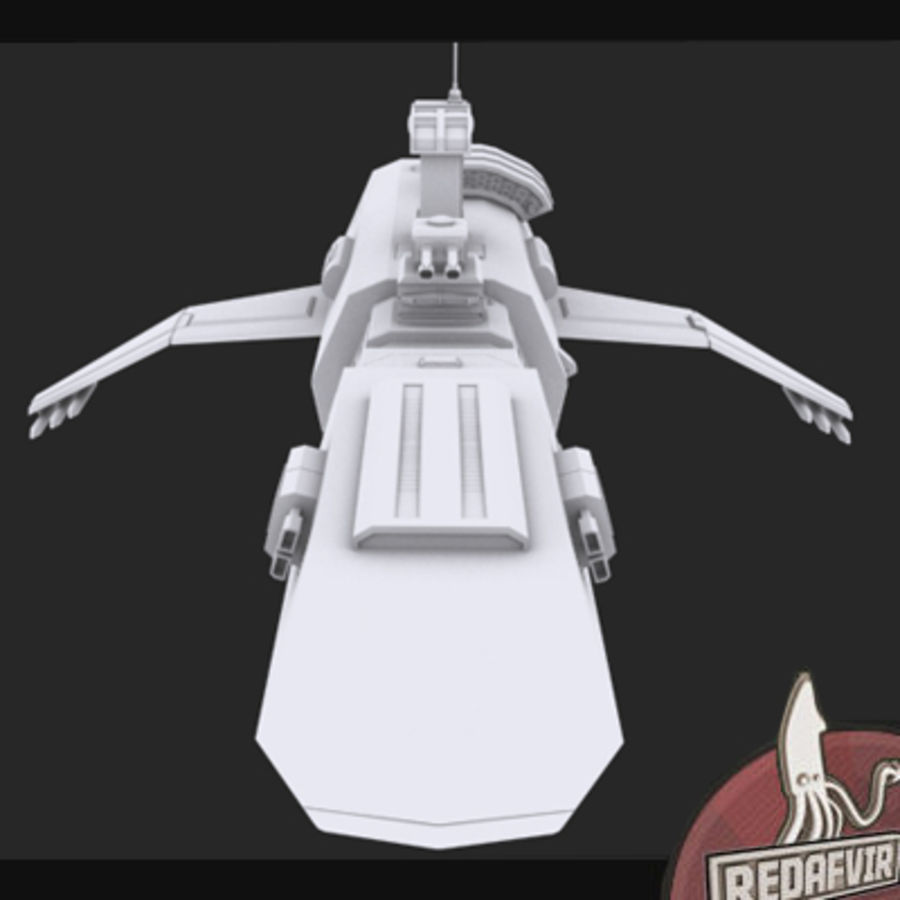 Scifi Spacecraft Destroyer royalty-free 3d model - Preview no. 7