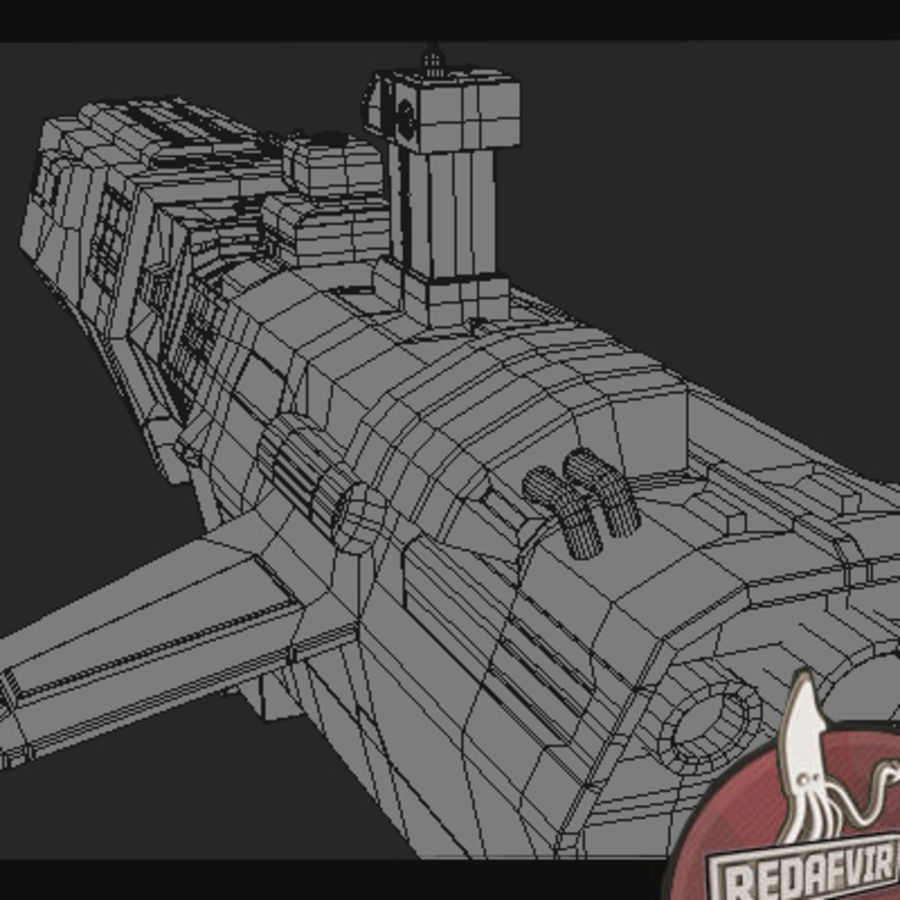 Scifi Spacecraft Destroyer royalty-free 3d model - Preview no. 14
