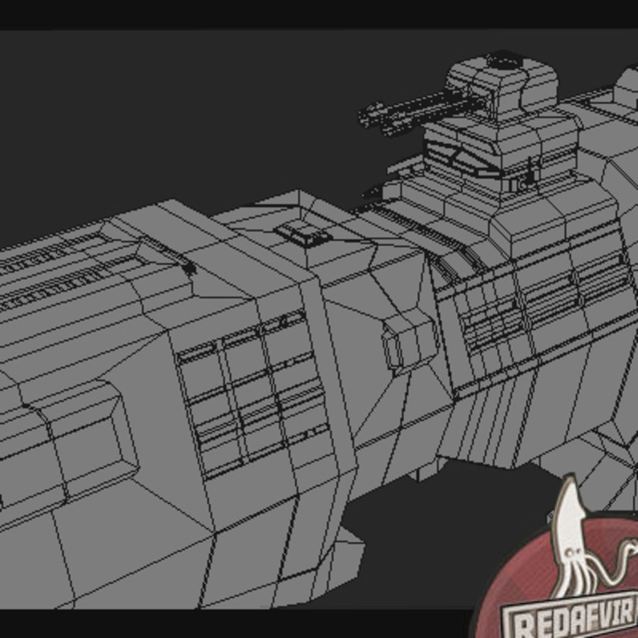 Scifi Spacecraft Destroyer royalty-free 3d model - Preview no. 9