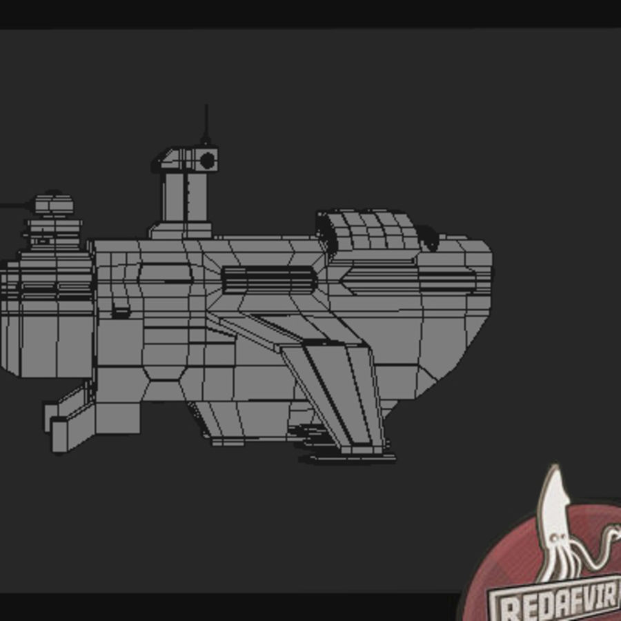 Scifi Spacecraft Destroyer royalty-free 3d model - Preview no. 13
