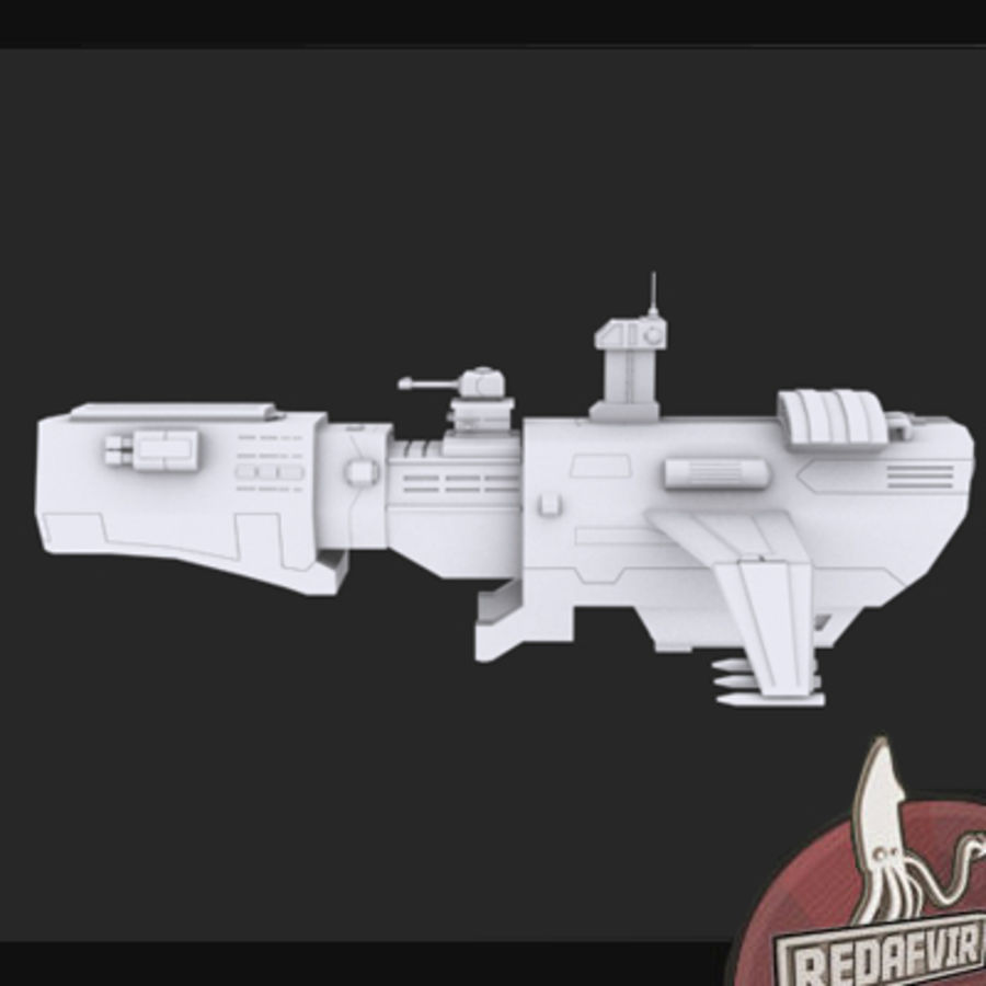 Scifi Spacecraft Destroyer royalty-free 3d model - Preview no. 6