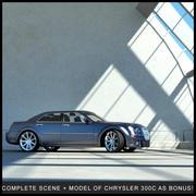 Wnętrze parkingowe + Chrysler 300C 3d model