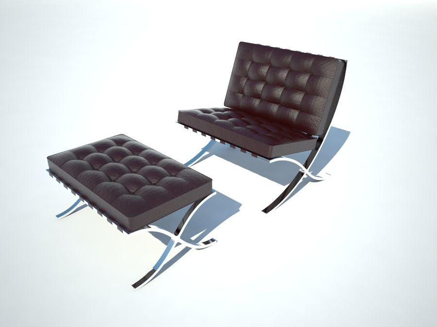 Krzesło i stołek Barcelona royalty-free 3d model - Preview no. 2