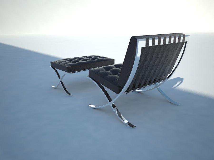 Krzesło i stołek Barcelona royalty-free 3d model - Preview no. 3