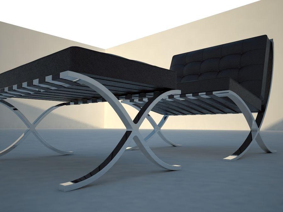 Krzesło i stołek Barcelona royalty-free 3d model - Preview no. 4