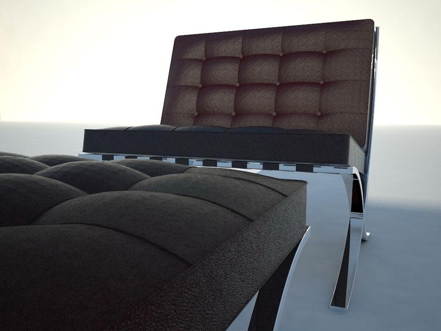 Krzesło i stołek Barcelona royalty-free 3d model - Preview no. 1