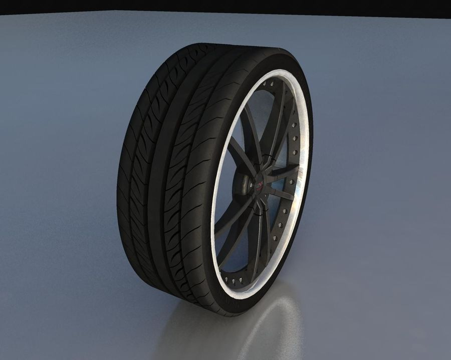 Wheel Black With Rivets royalty-free 3d model - Preview no. 4